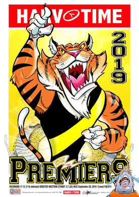 Richmond Tigers 2019 AFL Premiers Harv Time Poster /750