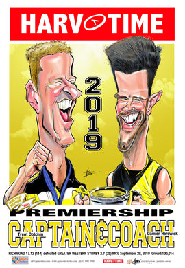 Cotchin & Hardwick, 2019 Premiership Captain & Coach, Harv Time Poster