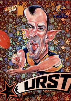 Shannon Hurn, Starburst Orange Caricatures, 2018 Select AFL Footy Stars