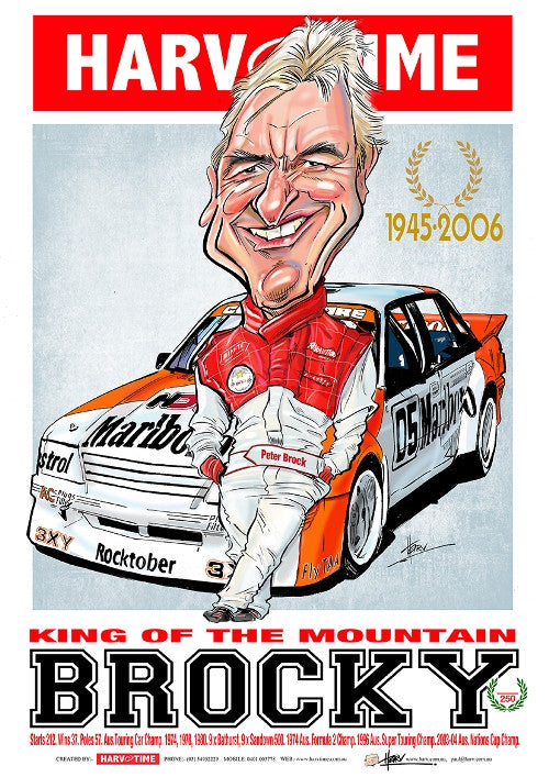 Peter Brock, King of the Mountain, Harv Time Poster