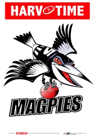 Collingwood Magpies, Mascot Print Harv Time Poster