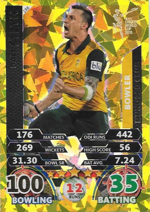 Dale Steyn, Gold, 2015 ICC Cricket World Cup, Topps Cricket Attax