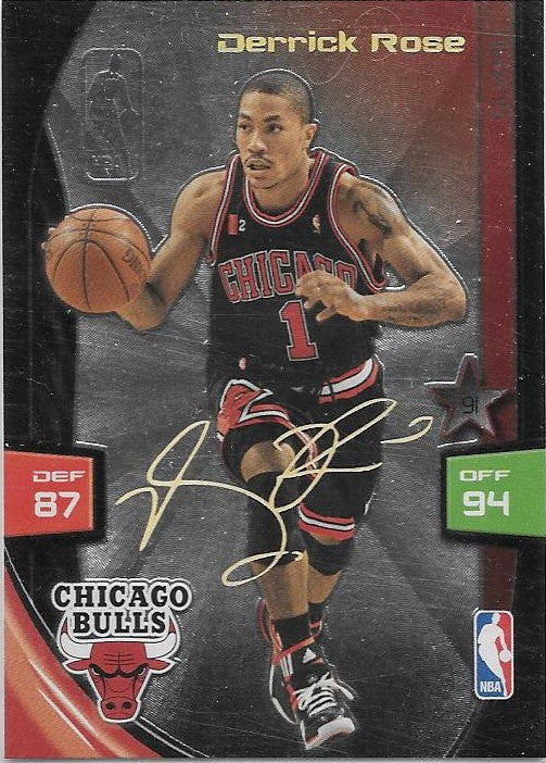 Derrick Rose, Gold Foil Signature, 2009-10 Panini Adrenalyn XL NBA
