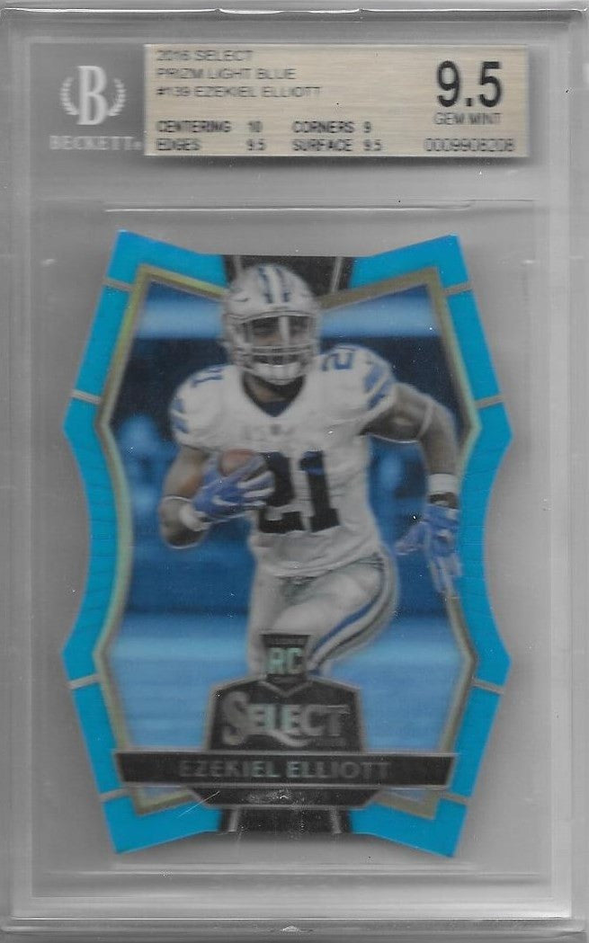 Ezekiel Elliott, Prizm Light Blue, 2016 Select, BGS 9.5