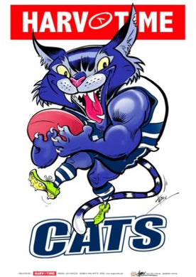 Geelong Cats, Mascot Print Harv Time Poster