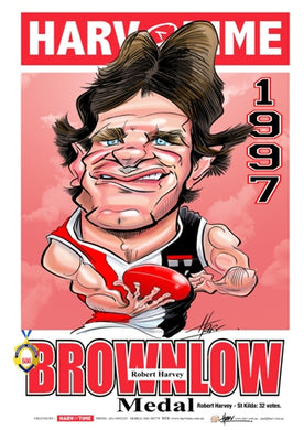 Robert Harvey, 1997 Brownlow Medallist, Harv Time Poster
