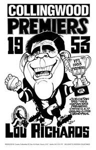 WEG Lou Richards 1953 Premiers Poster