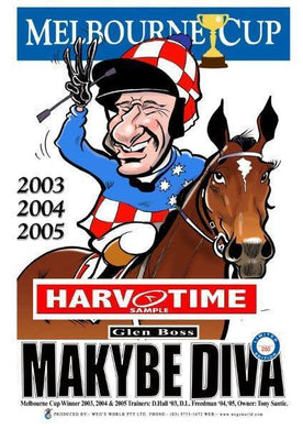 Makybe Diva, Melbourne Cup, Harv Time Poster