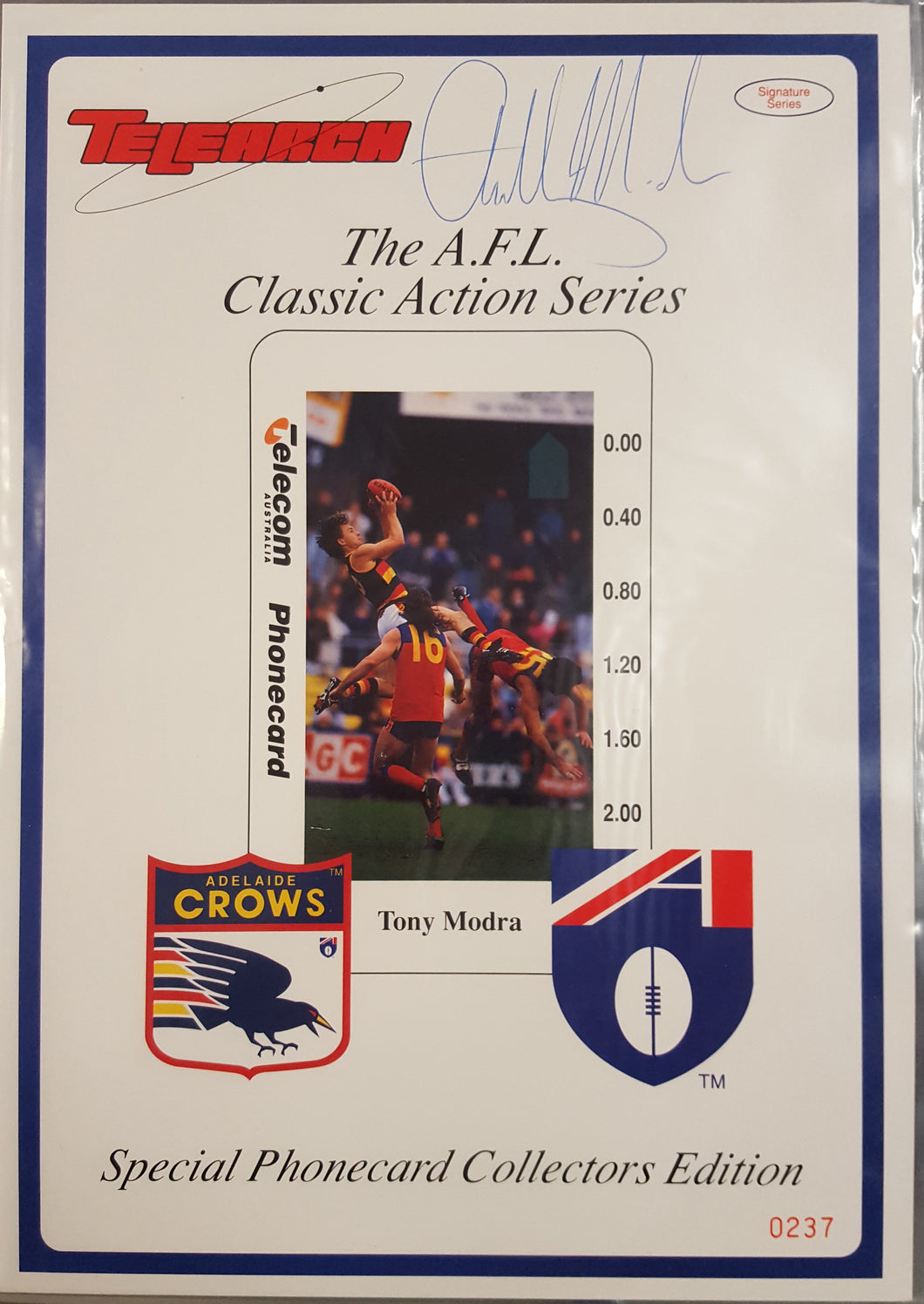 Tony Modra Signature Series Phone card