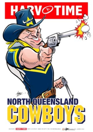 North Queensland Cowboys, NRL Mascot Print Harv Time Poster