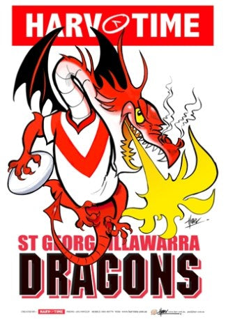 St George Dragons, NRL Mascot Print Harv Time Poster