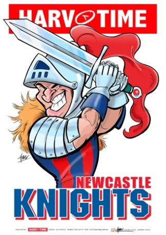 Newcastle Knights, NRL Mascot Print Harv Time Poster