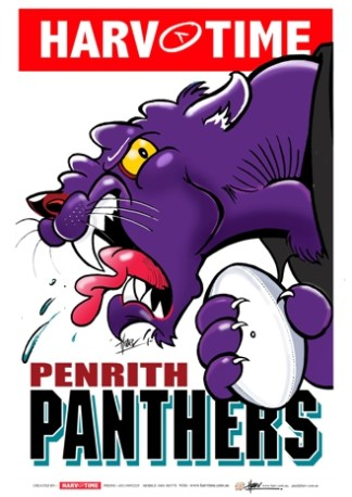 Penrith Panthers, NRL Mascot Print Harv Time Poster