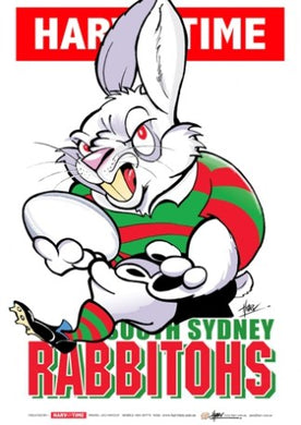 South Sydney Rabbitohs, NRL Mascot Print Harv Time Poster