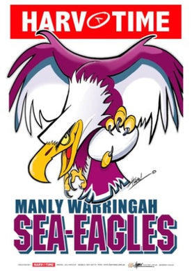Manly Sea Eagles, NRL Mascot Print Harv Time Poster