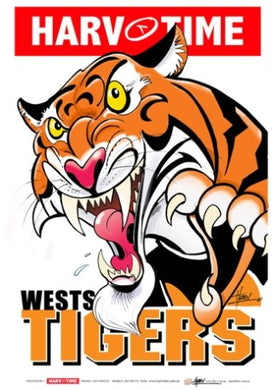Wests Tigers, NRL Mascot Print Harv Time Poster