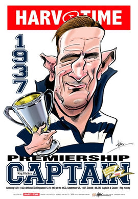 Reg Hickey, 1937 Premiership Captain, Harv Time Poster