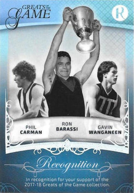 Ayres, Reynolds, Walker, Carmen, Barassi, Wanganeen, Recognition card, 2017 Regal Football Greats of the Game