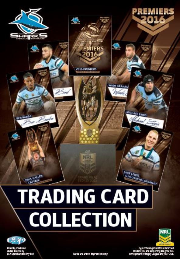 2016 Cronulla Sharks Official Signed Premiers card set