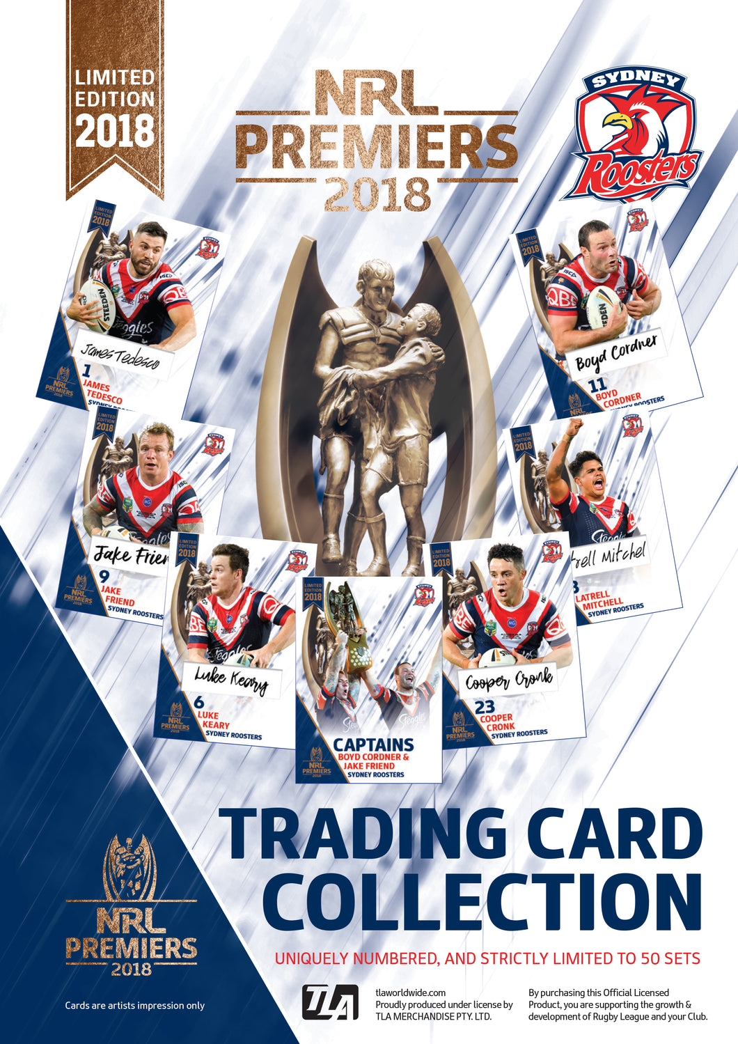 2018 Sydney Roosters Official Signed Premiers card set