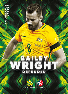 Bailey Wright, Caltex Socceroos Parallel card, 2018 Tap'n'play Soccer Trading Cards