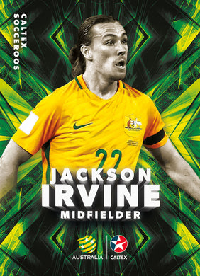 Jackson Irvine, Caltex Socceroos Parallel card, 2018 Tap'n'play Soccer Trading Cards