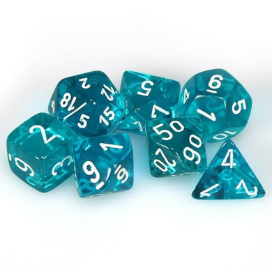 CHX 23085 Translucent Polyhedral Teal/White 7-Die Set