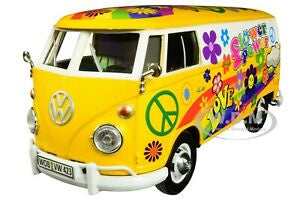 Volkswagen Type 2 Flower Power Delivery Van, Motor Max 1:24 Diecast Vehicle