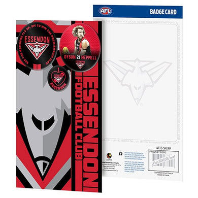 ESSENDON BOMBERS 3 BADGE GREETING CARD