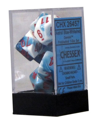CHX 26457 Gemini Polyhedral Astral Blue-White/Red 7 Dice Set