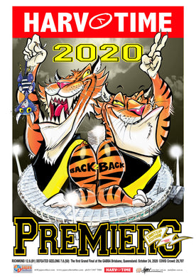Richmond Tigers 2020 AFL Premiers Harv Time Poster