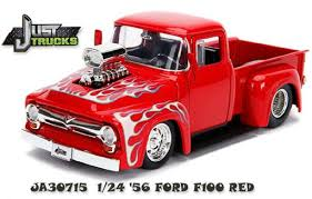 1956 Ford F-100 Pickup with Flames, Just Trucks, 1:24 Diecast Vehicle