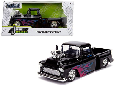 1955 Chevy Stepside, Gloss Black with Flames, Just Trucks, 1:24 Diecast Vehicle
