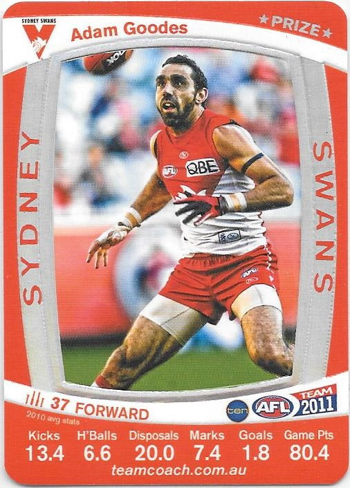 Adam Goodes, Prize card, 2011 Teamcoach AFL