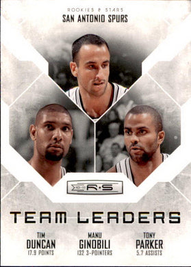 Duncan, Ginobli, Parker, Team Leaders, 2010-11 Panini Rookies & Stars Basketball NBA