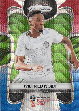 Wifred Ndidi, Red & Blue Refractor, 2018 Panini Prizm World Cup Soccer
