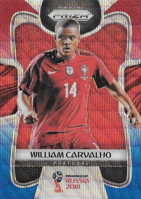 William Carvalho, Red & Blue Refractor, 2018 Panini Prizm World Cup Soccer