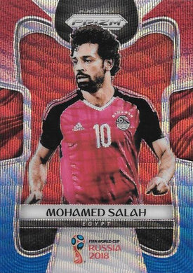 Mohamed Salah, Red & Blue Refractor, 2018 Panini Prizm World Cup Soccer