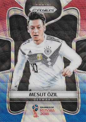 Mesut Ozil, Red & Blue Refractor, 2018 Panini Prizm World Cup Soccer