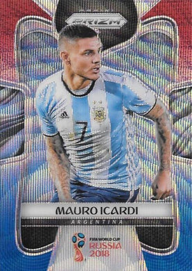 Mauro Icardi, Red & Blue Refractor, 2018 Panini Prizm World Cup Soccer