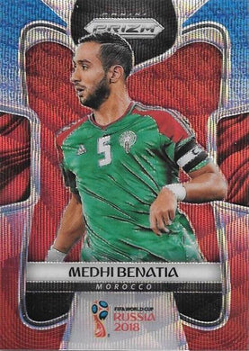 Medhi Benatia, Blue & Red Refractor, 2018 Panini Prizm World Cup Soccer
