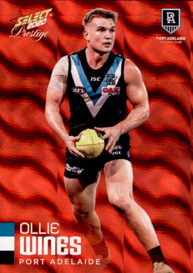 Ollie Wines, Red Parallel, 2020 Select AFL PRESTIGE Footy Stars