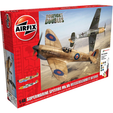 AIRFIX SUPERMARINE SPITFIRE MKVB MESSERSCHMITT BF109E DOGFIGHT DOUBLES GIFT SET 1:48 Model Kit