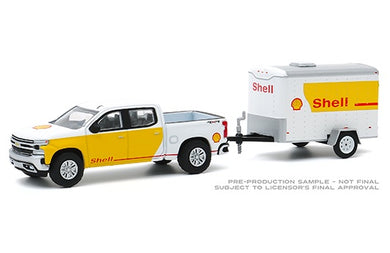 2019 Chevrolet Silverado & Small Cargo Trailer, Hitch & Tow, 1:64 Diecast Vehicle