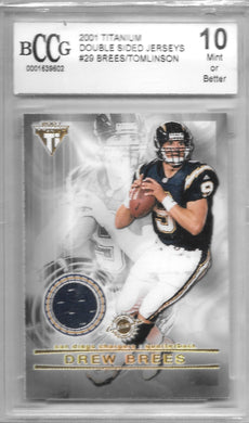 Drew Brees, LaDanian Tomlinson, Double Sided Jerseys, 2001 Titanium Football NFL BCCG 10