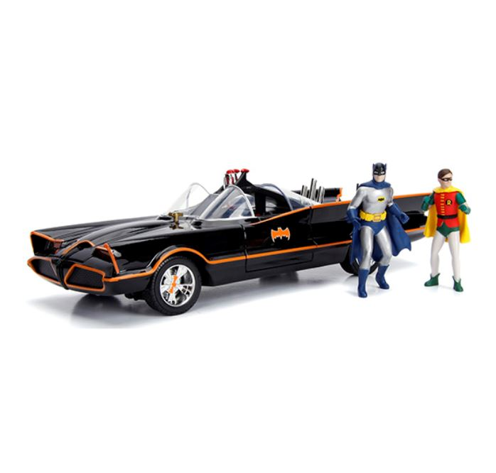 Batman 1966 Classic TV Series BATMOBILE with Figures, 1:18 Diecast Vehicle