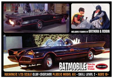 1966 BATMOBILE with Batman & Robin Figures, Plastic Model Kit, 1:25 Scale