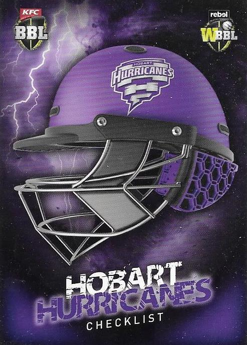 Hobart Hurricanes, Helmet Checklist, 2017-18 Tap'n'play CA BBL 07 Cricket