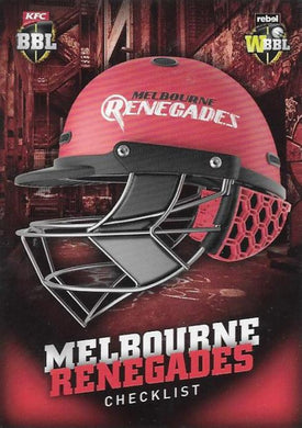 Melbourne Renegades, Helmet Checklist, 2017-18 Tap'n'play CA BBL 07 Cricket