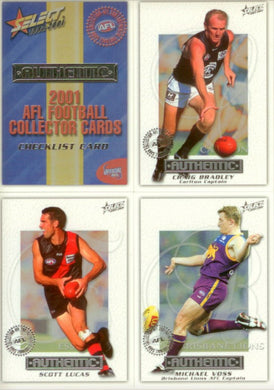 2001 Select AFL Authentic Base Set of 220 cards